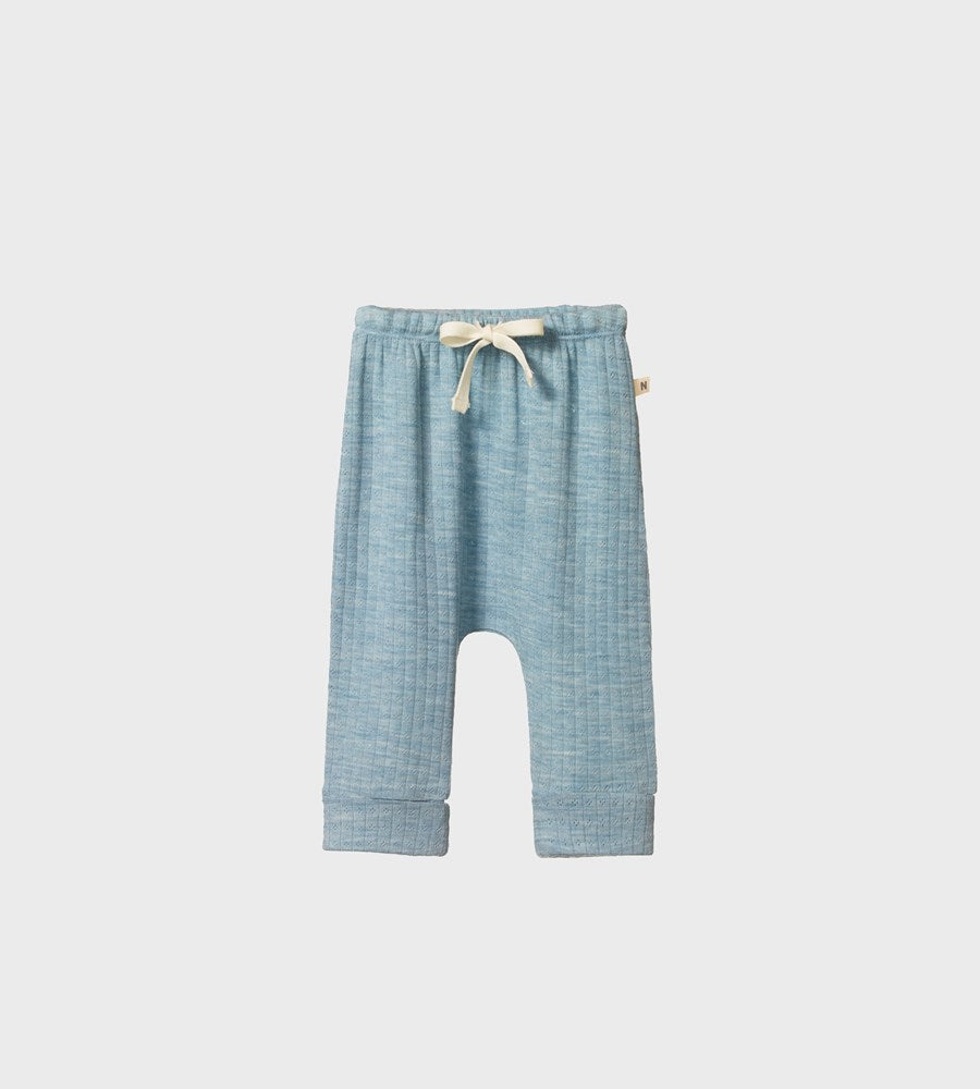 Nature Baby | Merino Drawstring Pants Pointelle | Aqua Marl