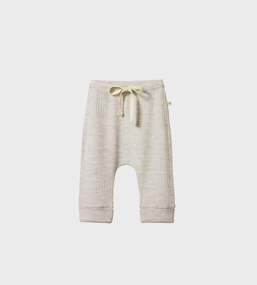 Nature Baby | Merino Drawstring Pants Pointelle | Light Grey Marl