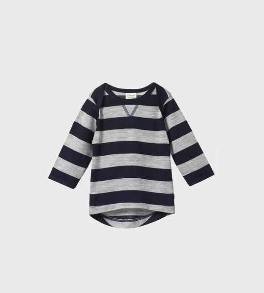 Nature Baby | Merino Essential Tee | Navy/Grey Marl Bold Stripe