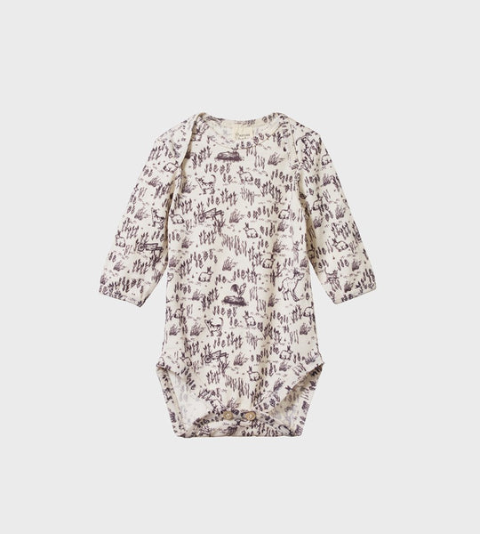 Nature Baby | Merino Long Sleeve Bodysuit | Barnyard Print
