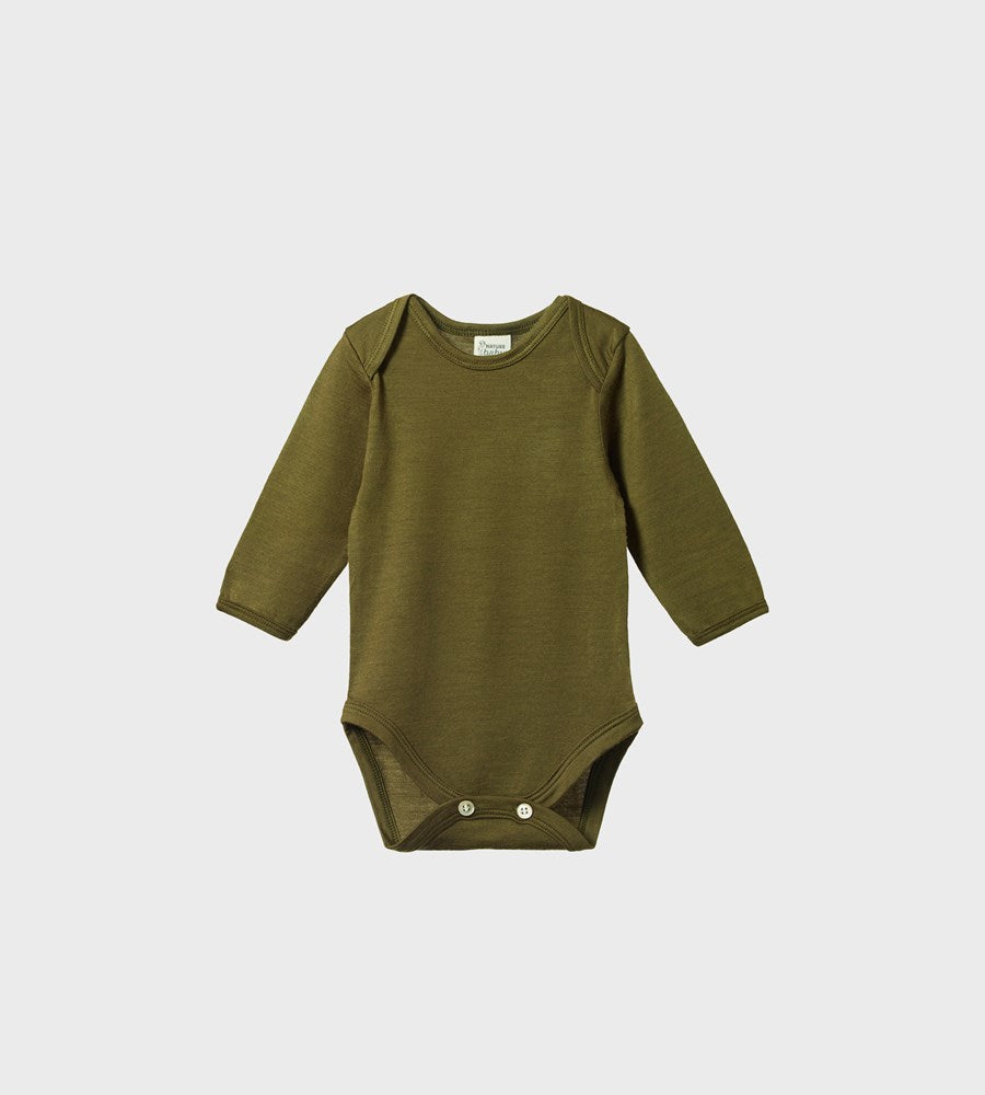 Nature Baby | Merino Long Sleeve Bodysuit | Fir Green