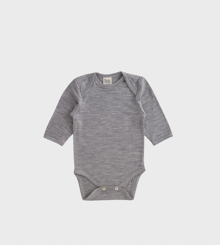 Nature Baby | Merino Long Sleeve Bodysuit | Grey Marle
