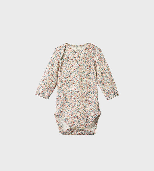 Nature Baby | Merino Long Sleeve Bodysuit | June's Garden Print