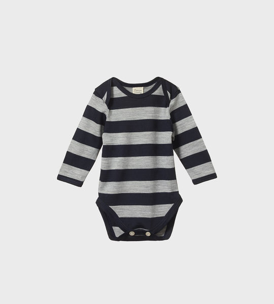 Nature Baby | Merino Long Sleeve Bodysuit | Navy/Grey Marl Bold Stripe