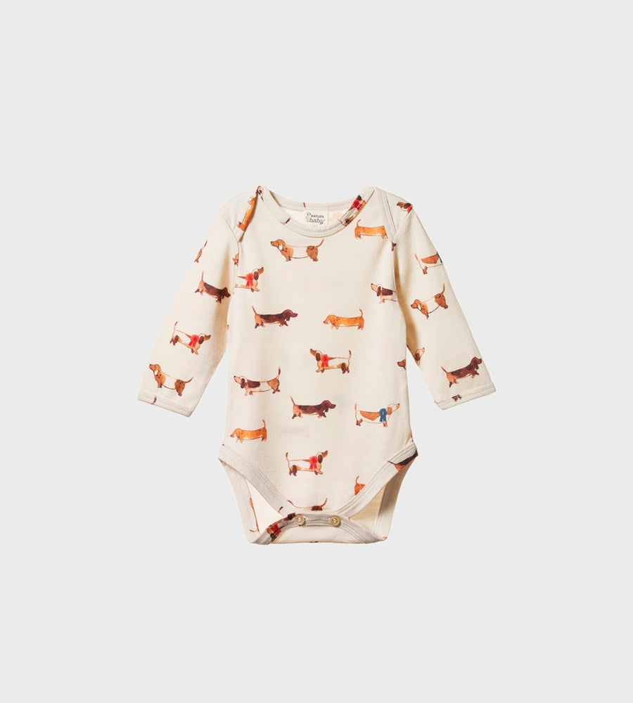 Nature Baby | Merino Long Sleeve Bodysuit | Pet Parade Oatmeal Print