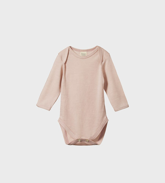 Nature Baby | Merino Long Sleeve Bodysuit | Rose Bud