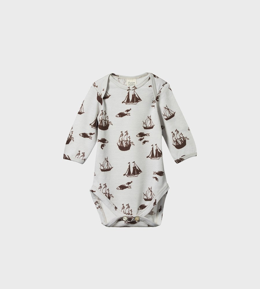 Nature Baby | Merino Long Sleeve Bodysuit | Voyage Print