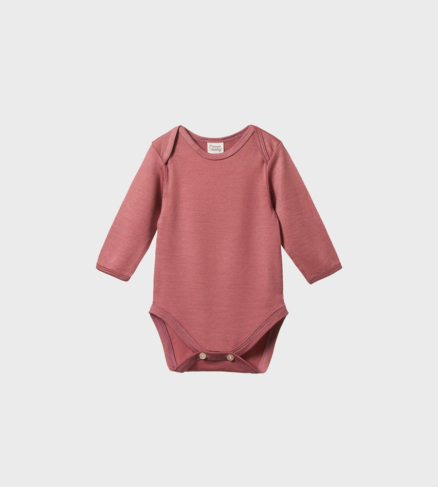 Nature Baby | Merino Long Sleeve Bodysuit | Woodland Rose