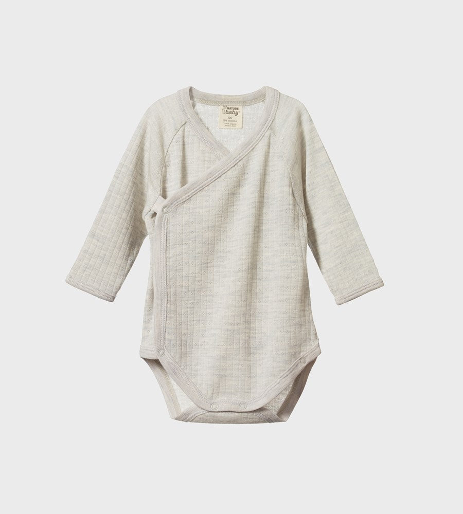 Nature Baby | Merino Longsleeve Kimono Bodysuit Pointelle | Light Grey Marl
