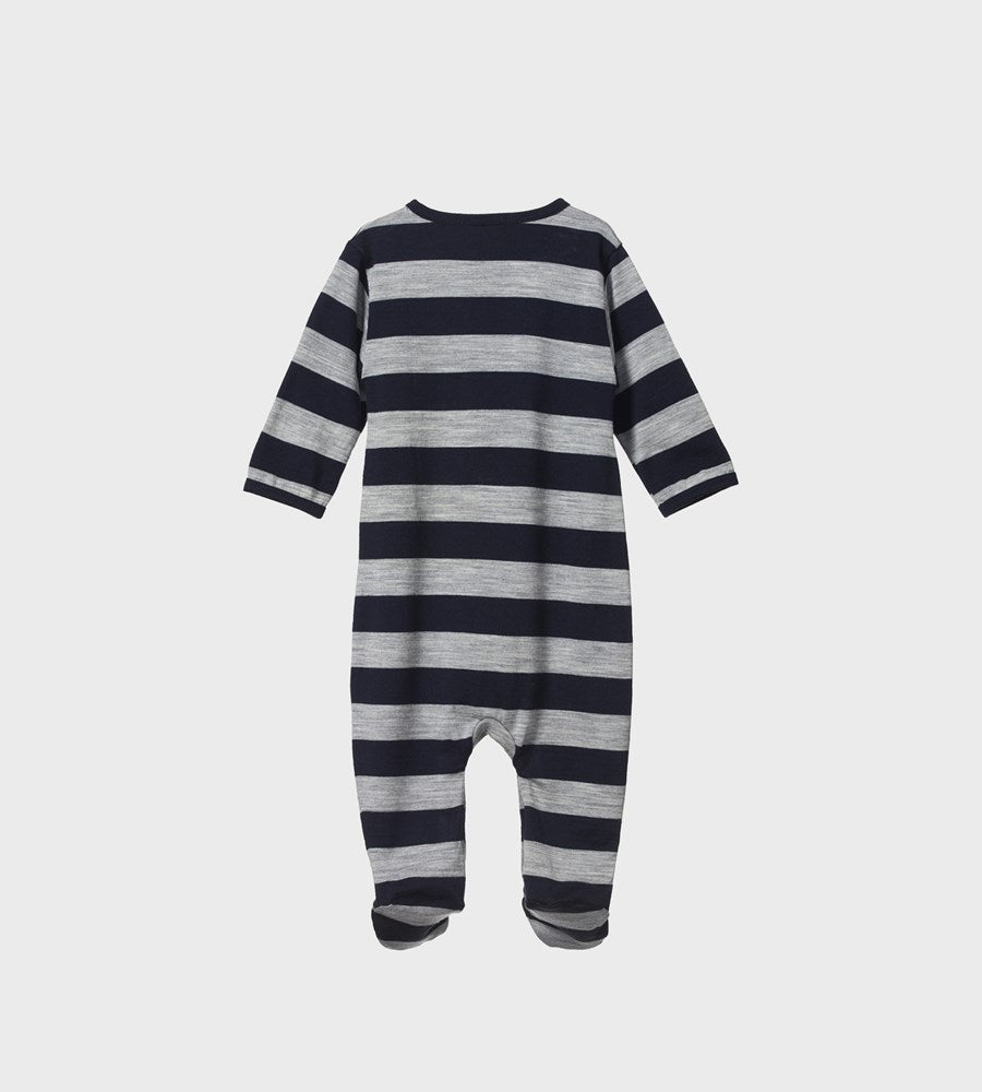 Nature Baby | Merino Stretch & Grow | Navy/Grey Marl Bold Stripe