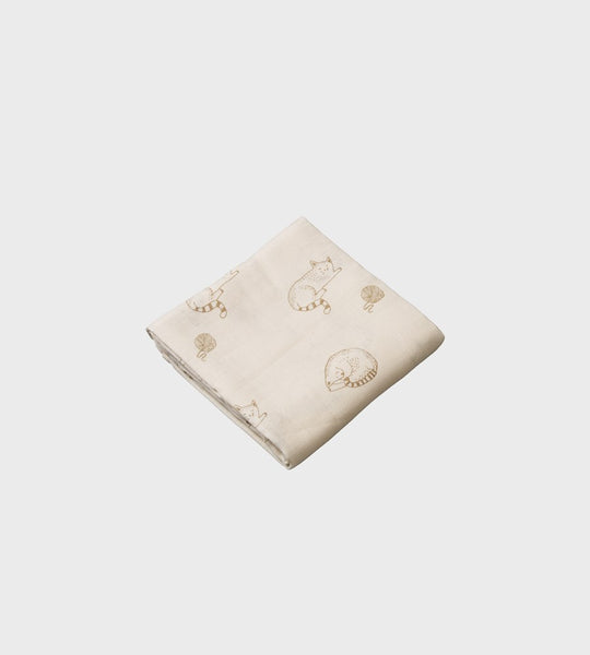 Nature Baby | Muslin Wrap | Sleepy Cat Print