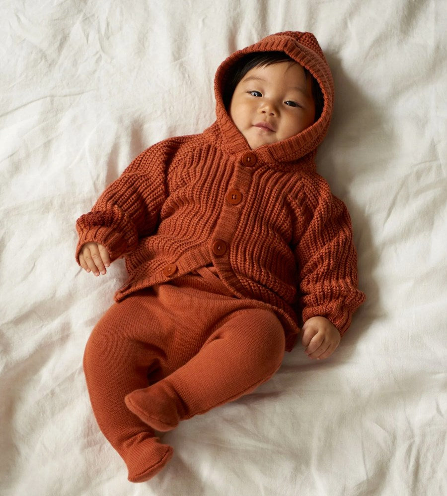 Nature Baby | Oak Hoodie | Rust Chunky Knit