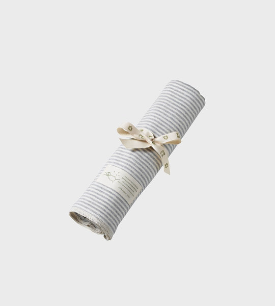 Nature Baby | Organic Cotton Wrap Blanket | Grey Marle Stripe