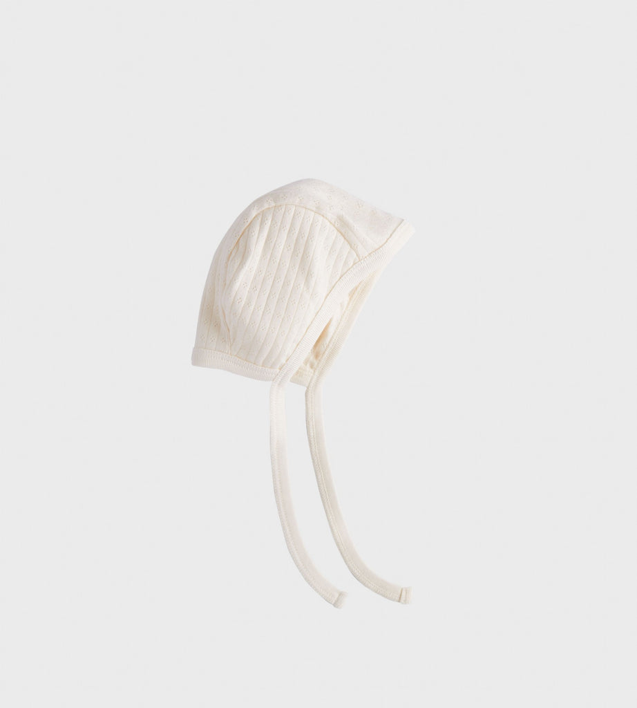 Nature Baby | Pointelle Bonnet Hat | Natural
