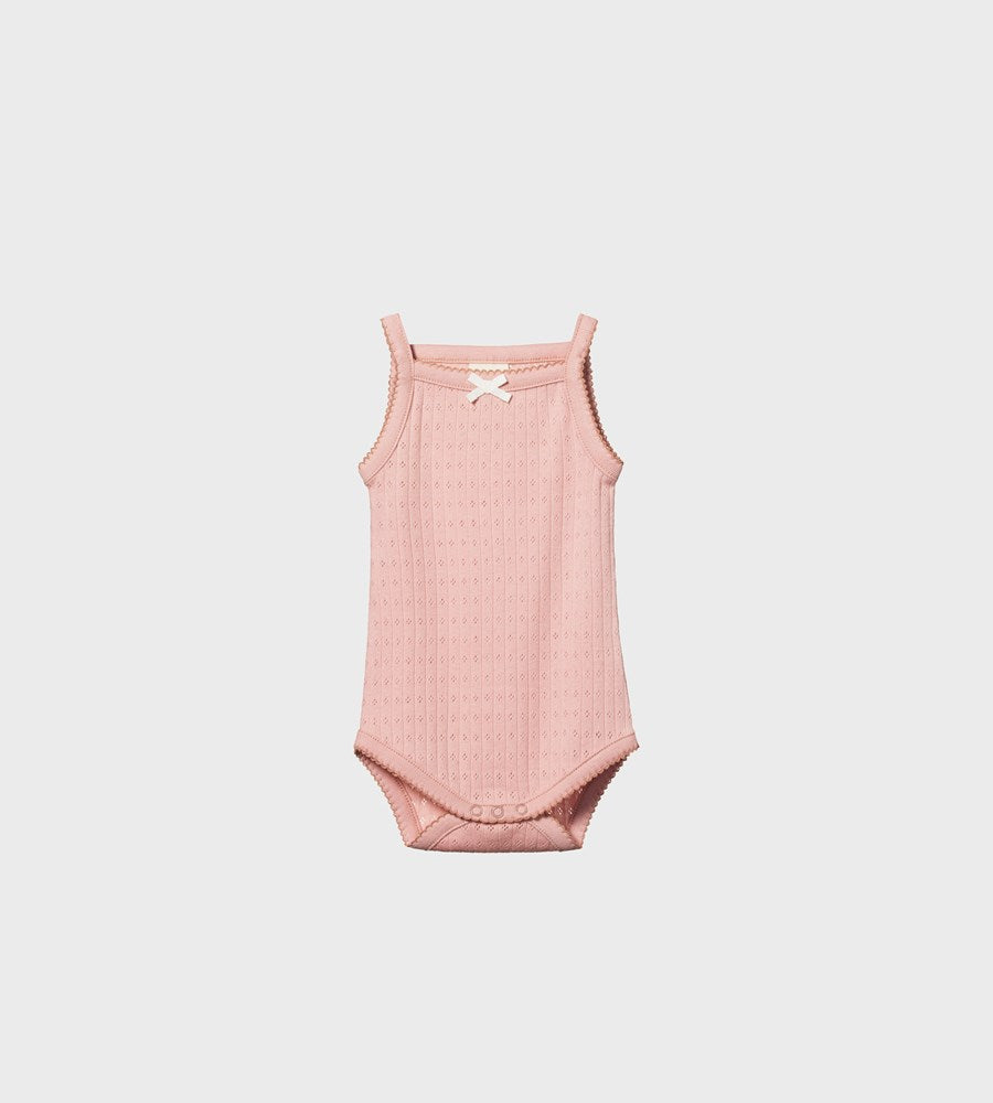 Nature Baby | Pointelle Camisole Bodysuit | Rose Bud
