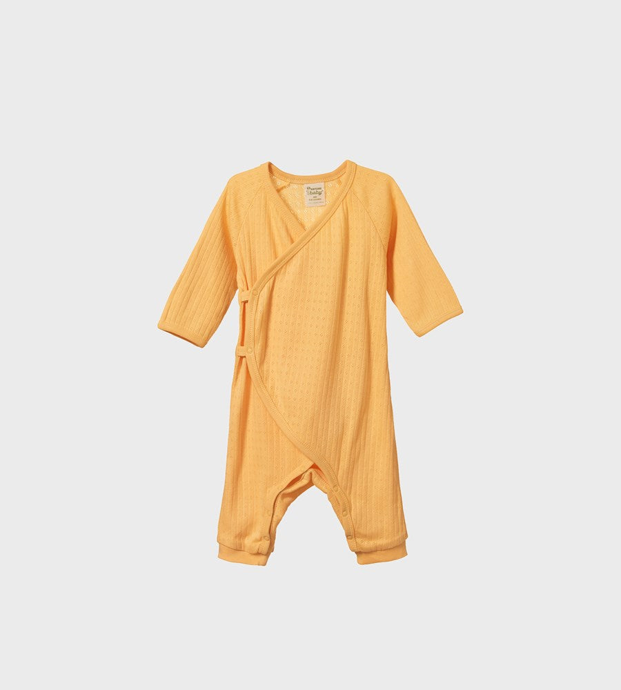 Nature Baby | Pointelle Kimono Stretch & Grow One Piece | Lemon