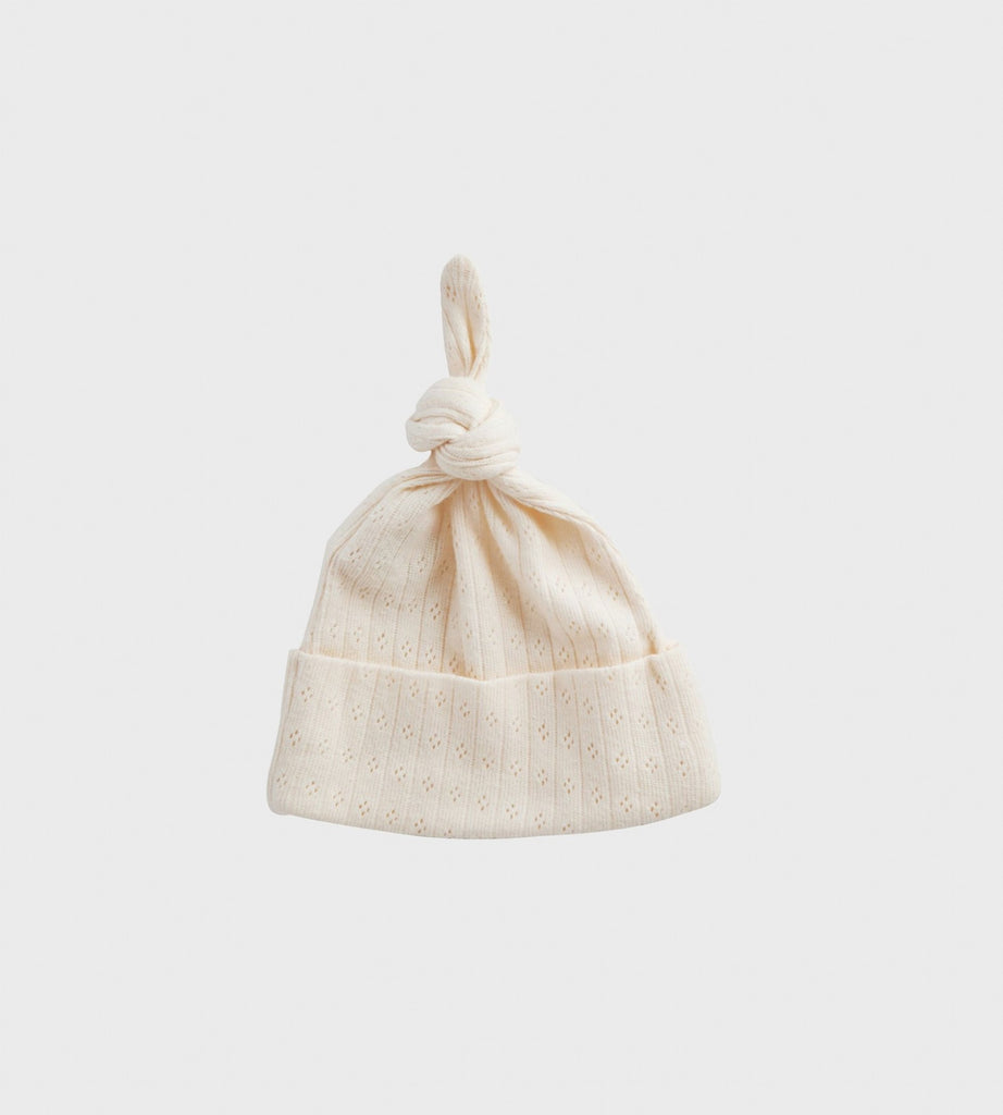 Nature Baby | Pointelle Knotted Beanie Hat | Natural