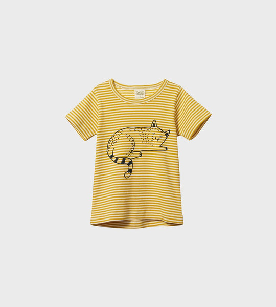 Nature Baby | River Tee | Sleepy Cat Sunny Stripe Print