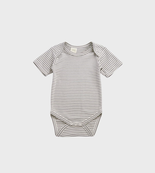 Nature Baby | Short Sleeve Bodysuit | Grey Marle Stripe