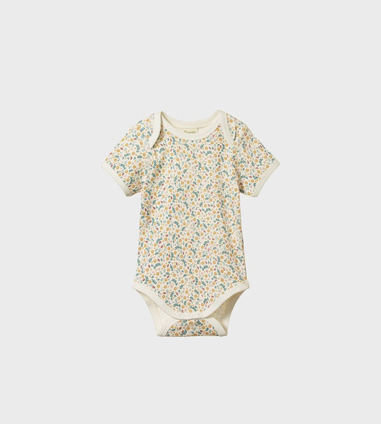 Nature Baby | Short Sleeve Bodysuit | June's Garden Print