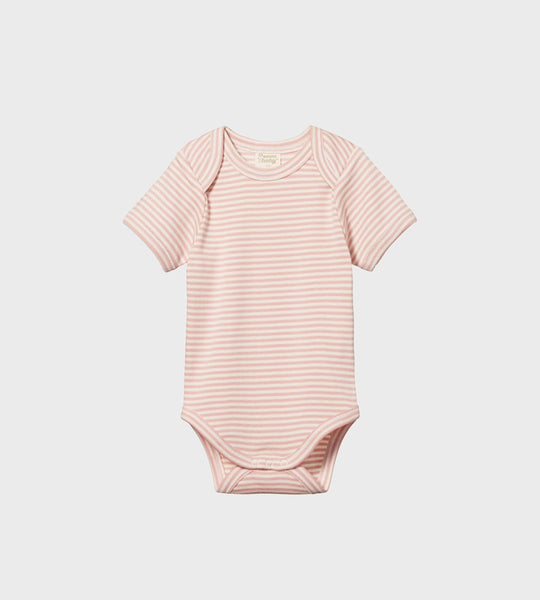 Nature Baby | Short Sleeve Bodysuit | Rose Bud Stripe