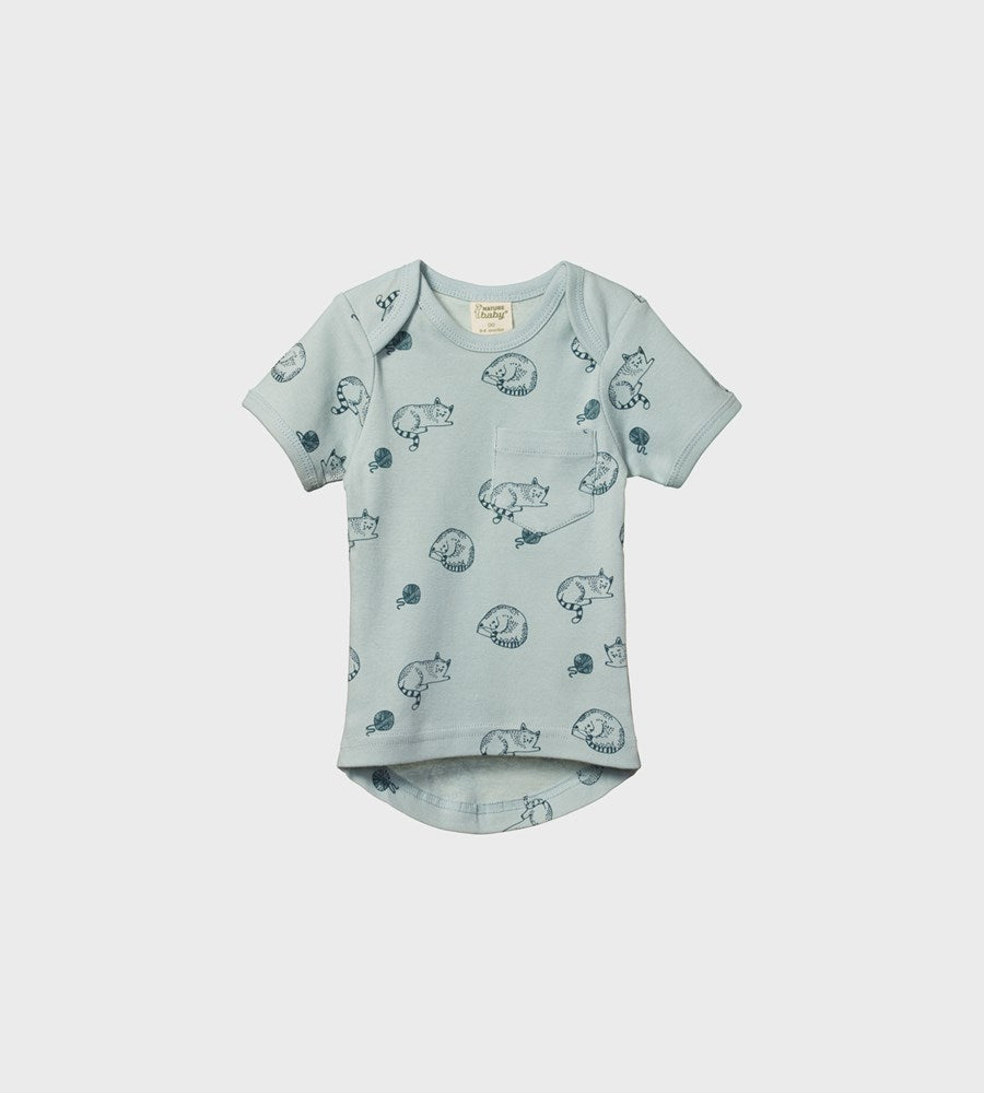 Nature Baby | Short Sleeve Pocket Tee | Sleepy Cat Print