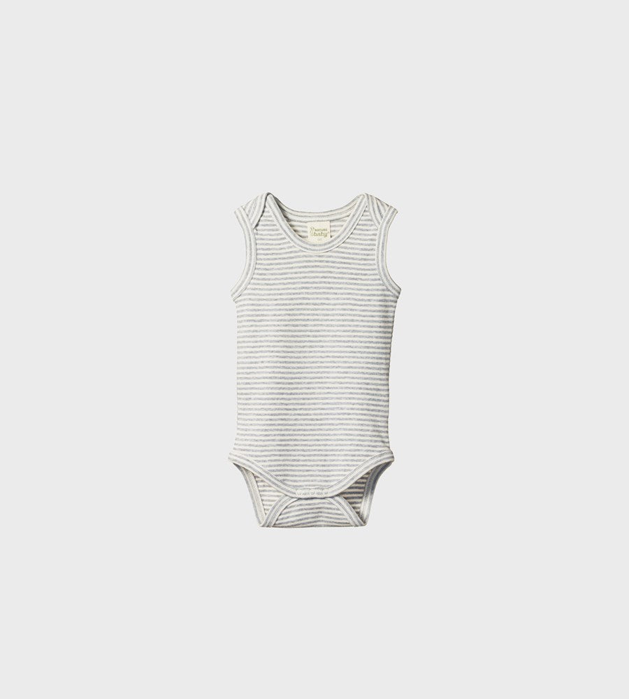 Nature Baby | Singlet Bodysuit | Grey Marle Stripe