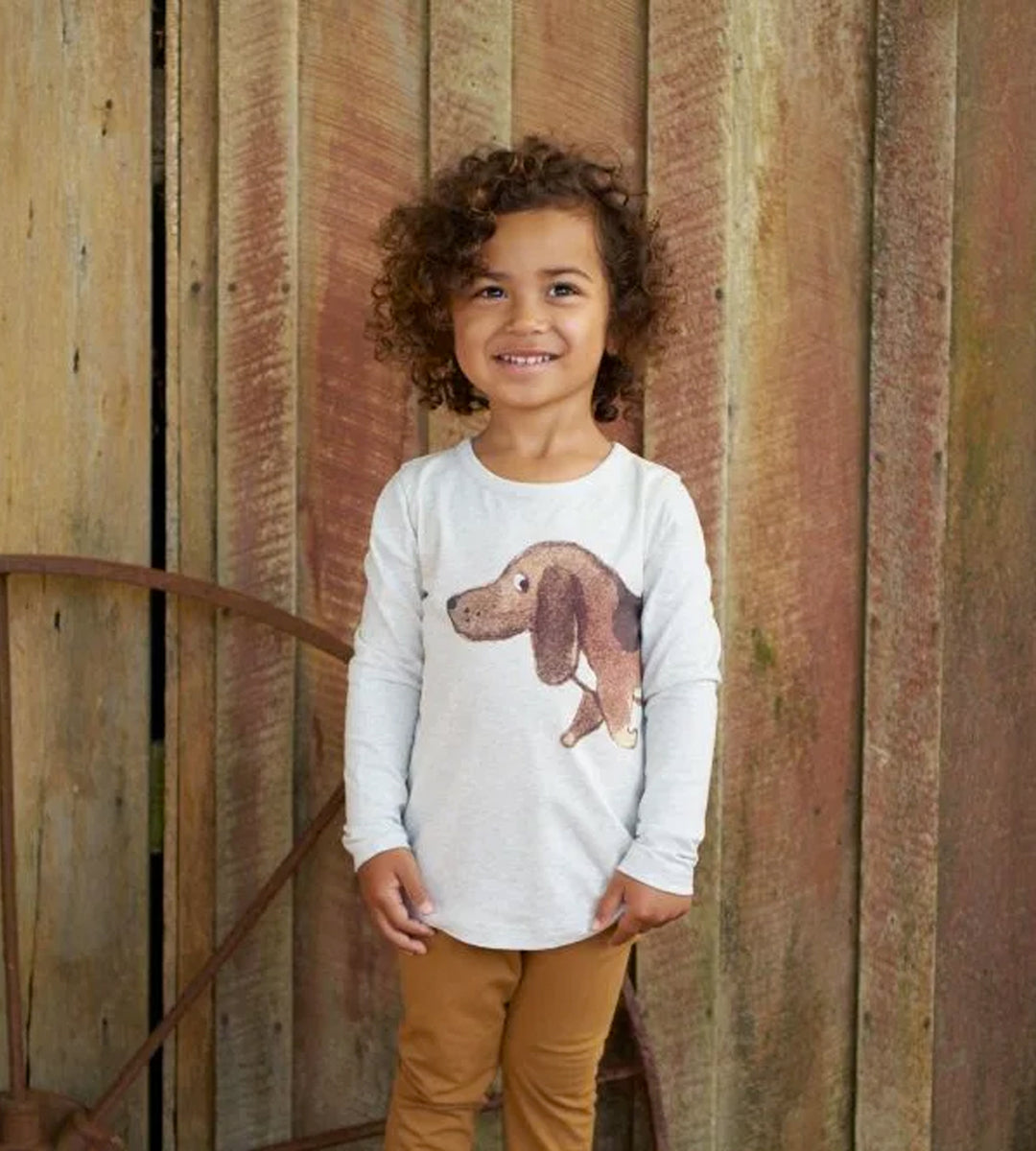 Nature Baby | Stretch Jersey Everyday Tee | Top Dog Light Grey Marl Print