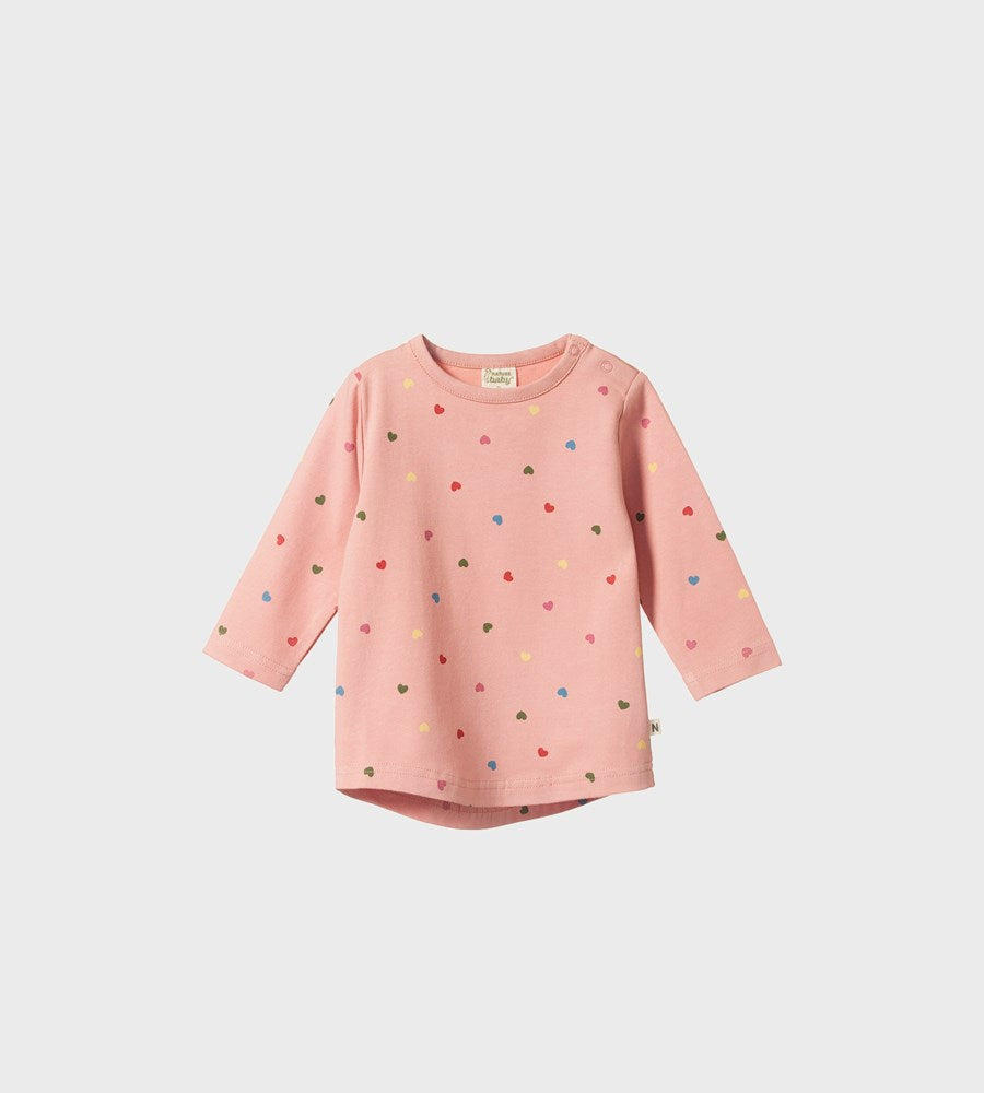 Nature Baby | Stretch Jersey Everyday Tee | Heart Tulip Print