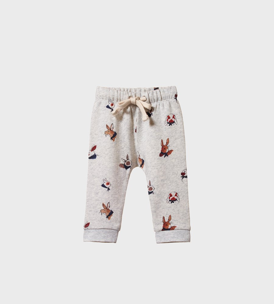 Nature Baby | Sunday Track Pants | Bunny Garden Light Grey Marl Print