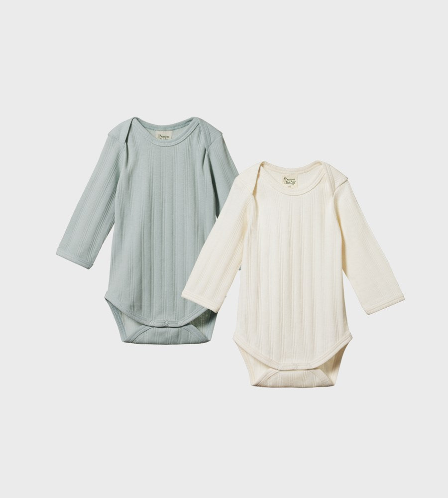 Nature Baby | Two Pack Derby Long Sleeve Bodysuits | Natural & Sea