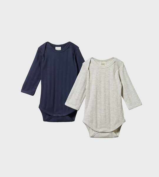 Nature Baby | Two Pack Derby Long Sleeve Bodysuits | Navy & Grey Marl