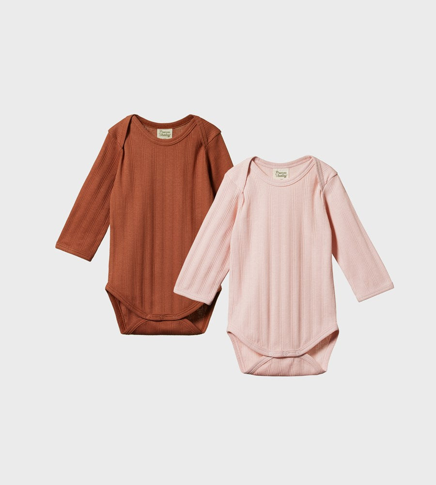 Nature Baby | Two Pack Derby Long Sleeve Bodysuits | Rose Bud & Terracotta