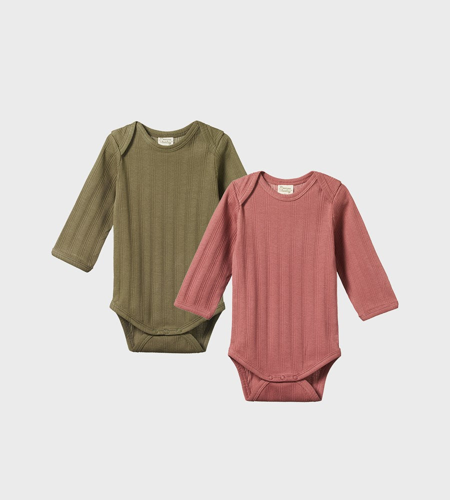 Nature Baby | Two Pack Derby Long Sleeve Bodysuits | Woodland Rose & Cypress