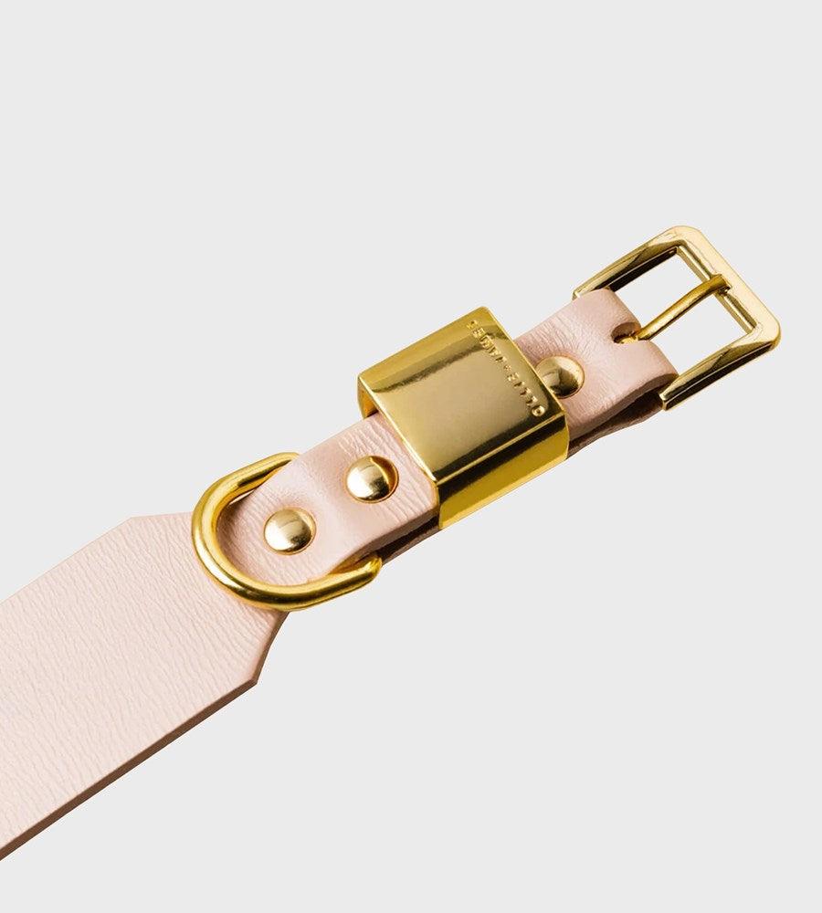 Ollie & James | Leather Dog Collar | Blush