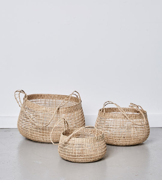 Lally Woven Basket with Long Handle