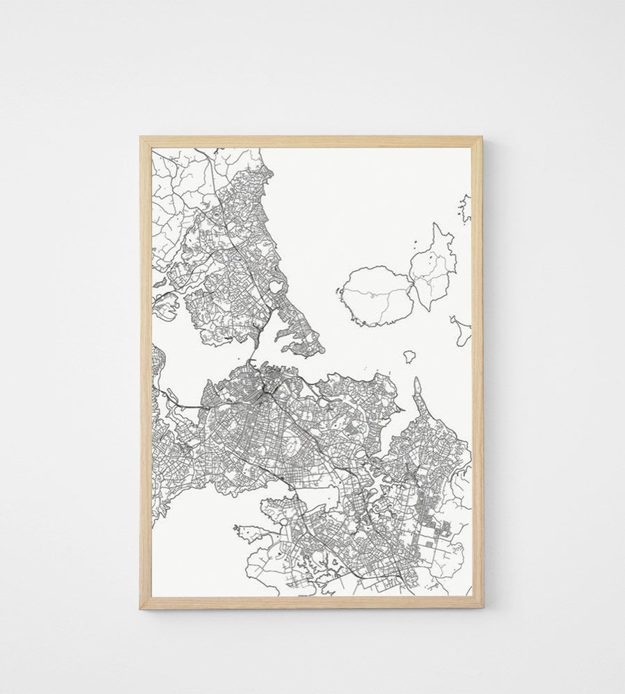 Poster | Map of Auckland | Fine Lines | 50 x 70 cm