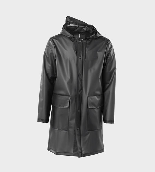 Rains Hooded Coat | Foggy Black