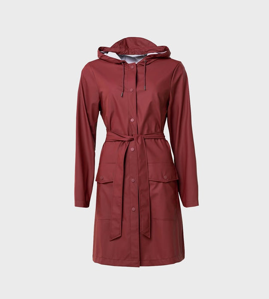 Rains Belt Jacket | Maroon