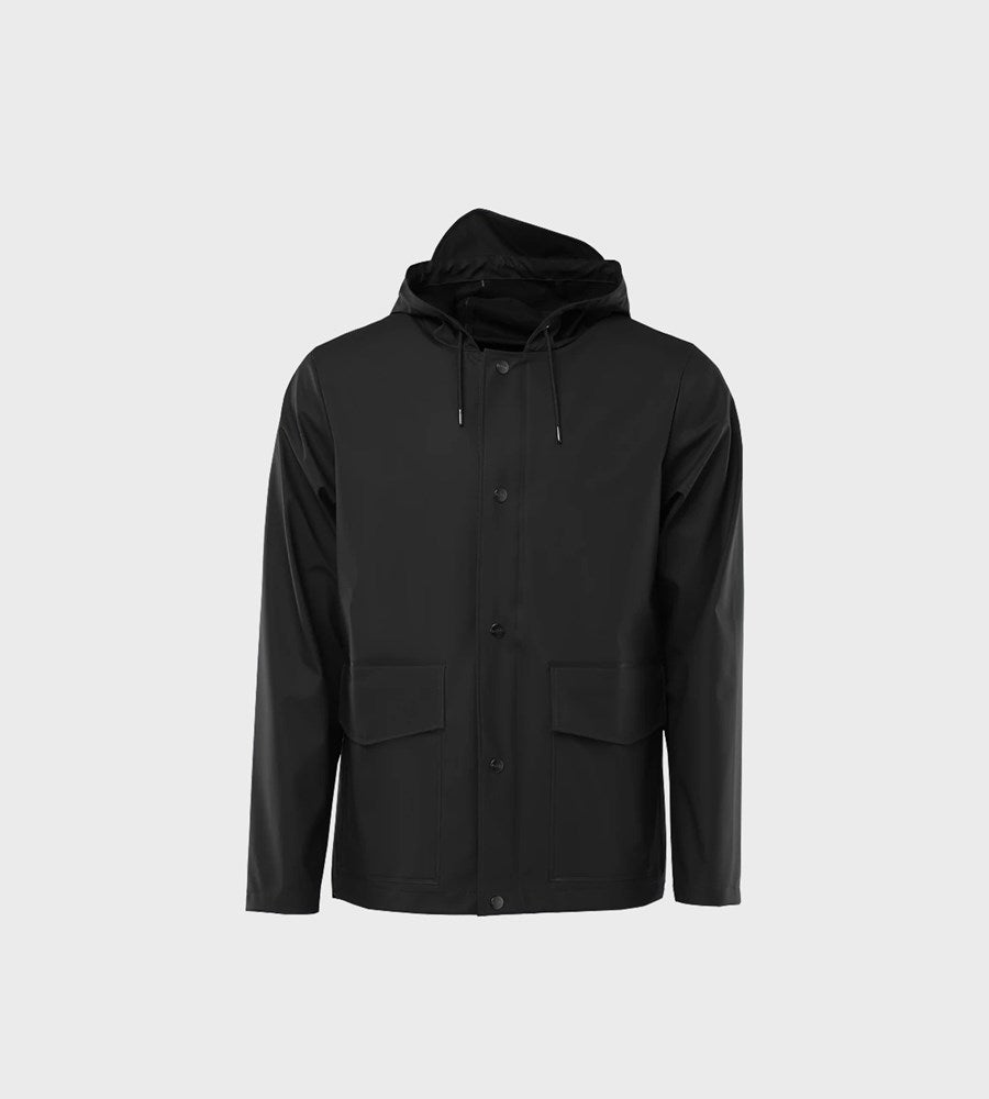 Rains Short Hooded Coat | Black