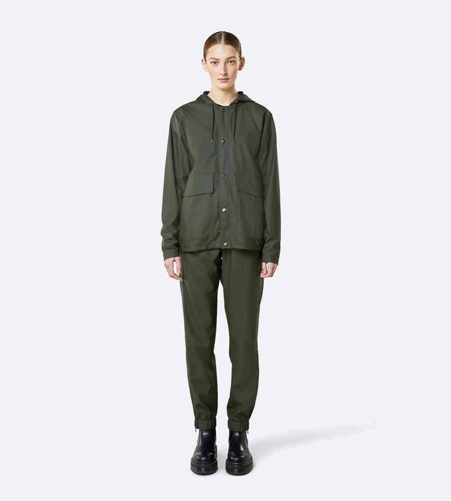 Rains Short Hooded Coat | Green