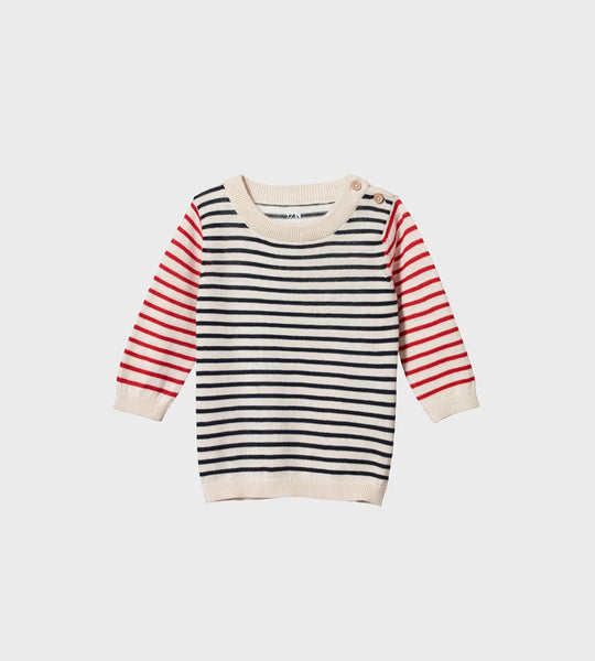 Nature Baby | Light Cotton Knit Jumper | Navy/Red Sailor Stripe