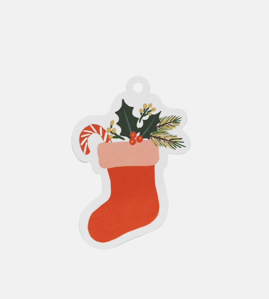 Rifle Paper Co. | Gift Tag | Die Cut Christmas Stocking | Pack of 8