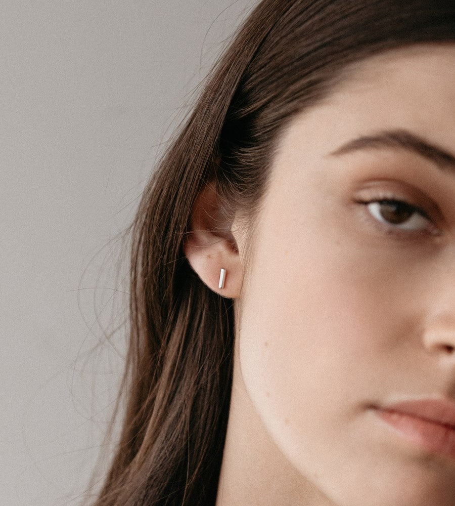 Sophie | Mini Bar Earrings | Silver