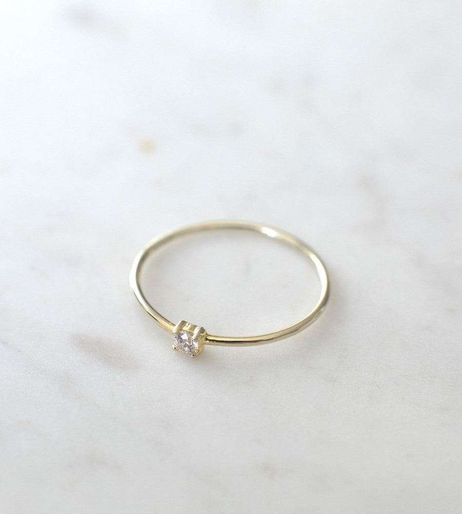 Sophie | Mini Rock Ring Clear | Gold