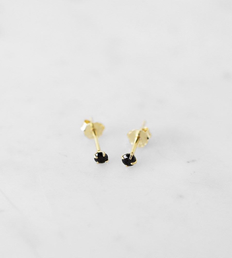 Sophie | Mini Rock Studs Black Earrings | Gold