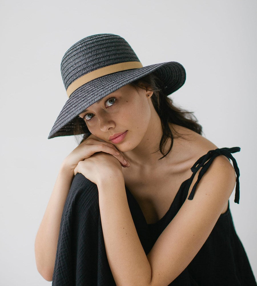 Sophie | So Shady Ribbon Hat | Black with Wheat