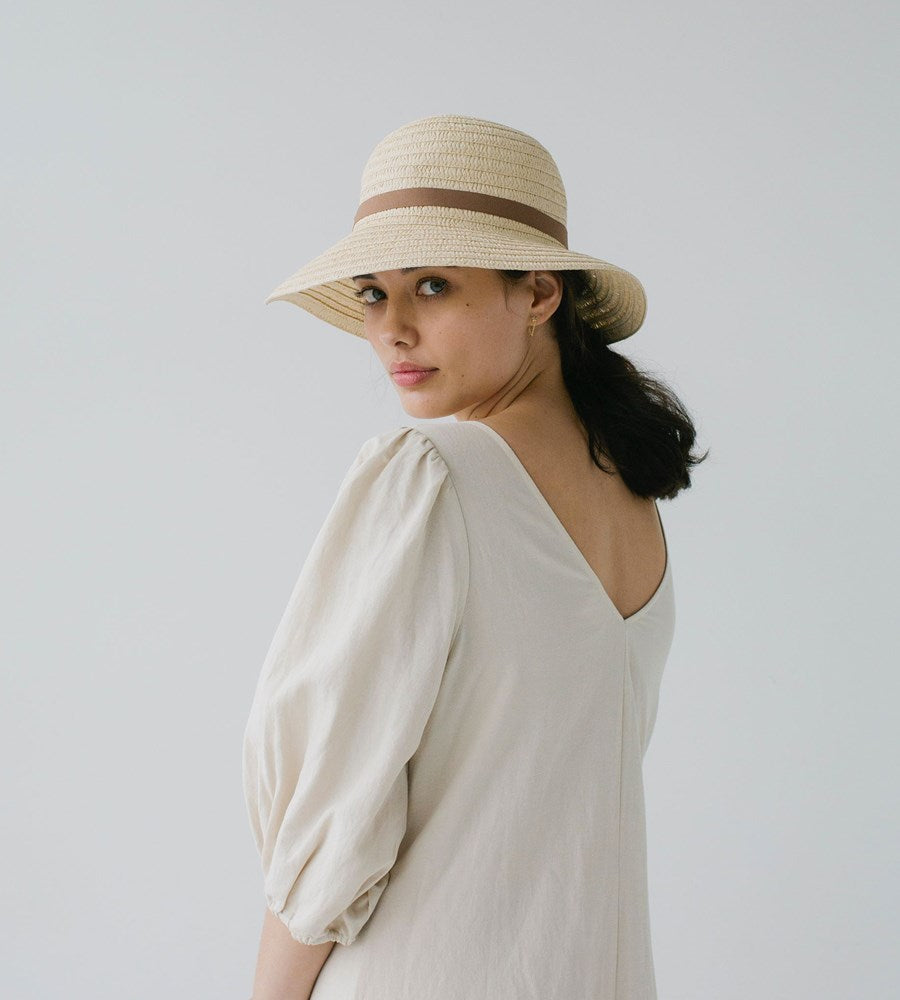 Sophie | So Shady Ribbon Hat | Ivory with Latte