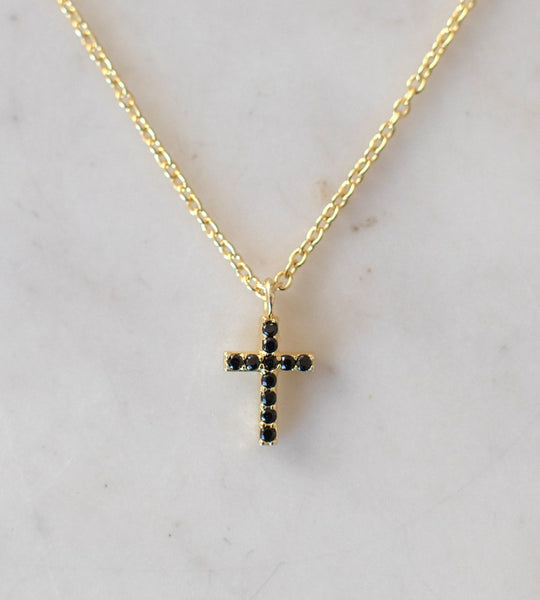 Sophie | Sparkle Cross Necklace Black