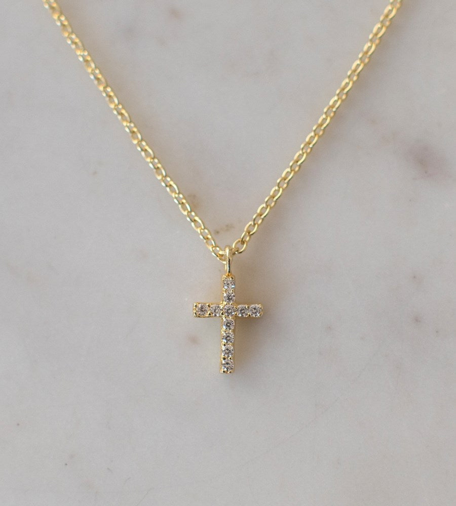 Sophie Sparkle Cross Necklace Clear